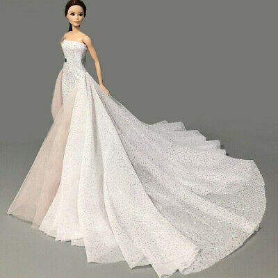 White Wedding Dress Gown for 11.5 inch Doll Evening Party Clothes for 1/6 Dolls 8