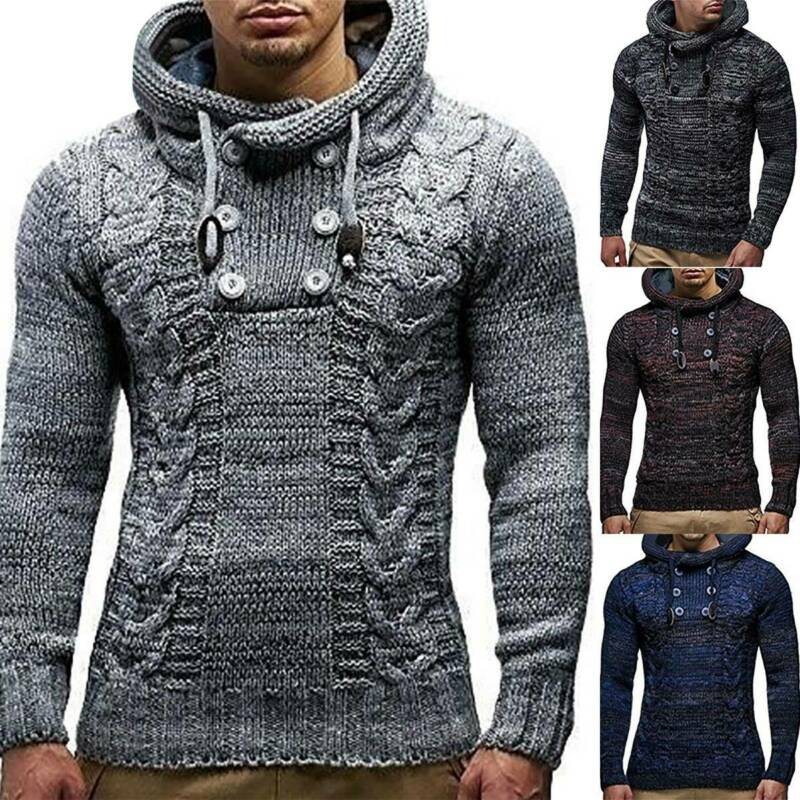 Mens Warm Knitted Hooded Long Sleeve Jumper Pullover Casual Sweater Winter Coat 2