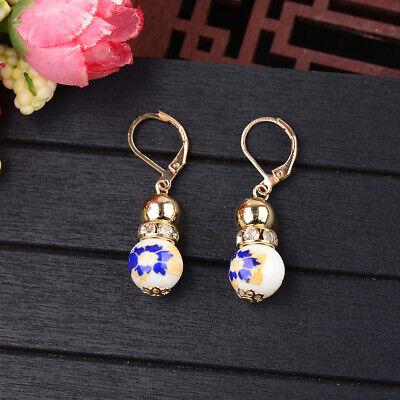 2 Beads Colored Enamel Gemstone Earrings Bohemian Handmade Fashion Earrings Gift 3