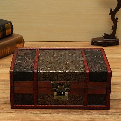 Large Decorative Trinket Jewelry Lock Chest Handmade Wooden Storage Box 3