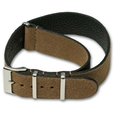 Genuine SUEDE Leather Watch Strap Band NATO G10 Military MoD Zulu brown tan 4