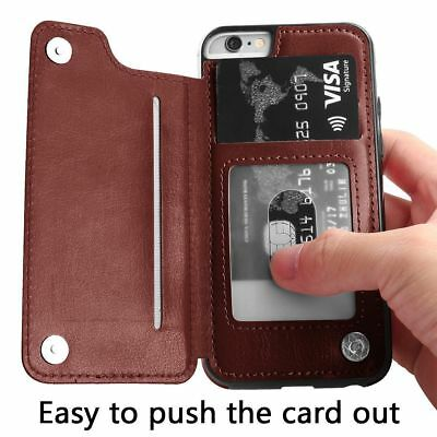 Leather Flip Wallet Card Holder Case Cover For iPhone 6 7 8 Plus Samsung S7 S10+ 2