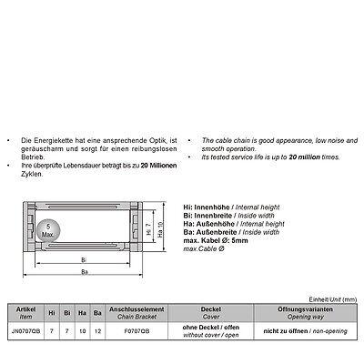 1M, Energiekette 7x7mm R15 offen - Schleppkette - Kabelführung