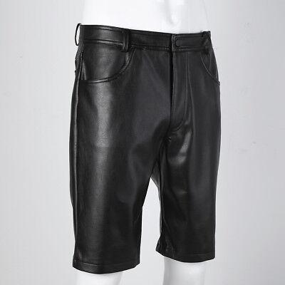 Herren Kunstleder Bermudas Shorts Wetlook Kurze Hose Ultrabequem Pants Schwarz 3