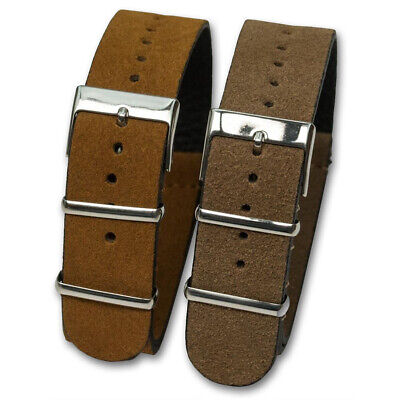 Genuine SUEDE Leather Watch Strap Band NATO G10 Military MoD Zulu brown tan 3