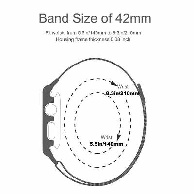 For Apple Watch Series 3/2/1 Milanese Stainless Steel Watch Band Strap 38mm/42mm 4