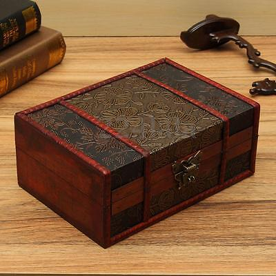 Large Decorative Trinket Jewelry Lock Chest Handmade Wooden Storage Box 4