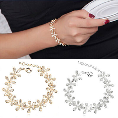 Fashion Flower Crystal Rhinestone Gold Silver Chain Bangle Bracelet Jewelry 9