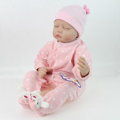 22'' Lifelike Reborn Baby Girl Doll Handmade Newborn Dolls + Clothes Xmas Gifts 5