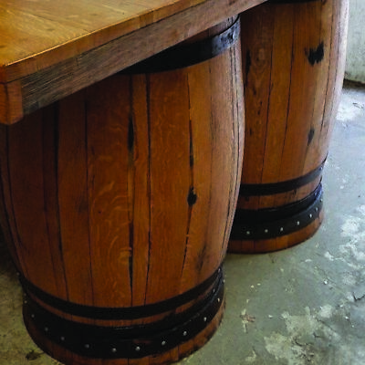 Recycled Solid Wooden Oak Double Whiskey Cask Bar Table Patio Table 2