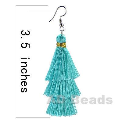 Fashion Charm Crystal Silk Tassel 3 Layers Fan Fringe Dangle Earrings 2