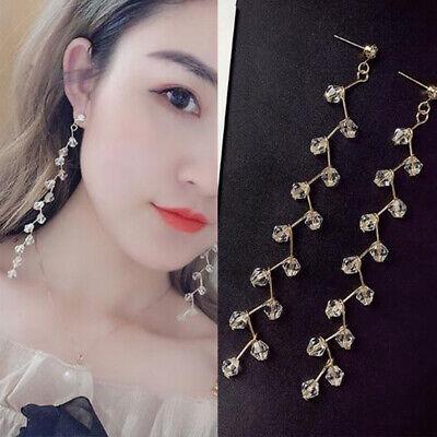 Long Tassel Crystal Hook Earrings Women Drop Dangle Ear Stud Wedding Party 2