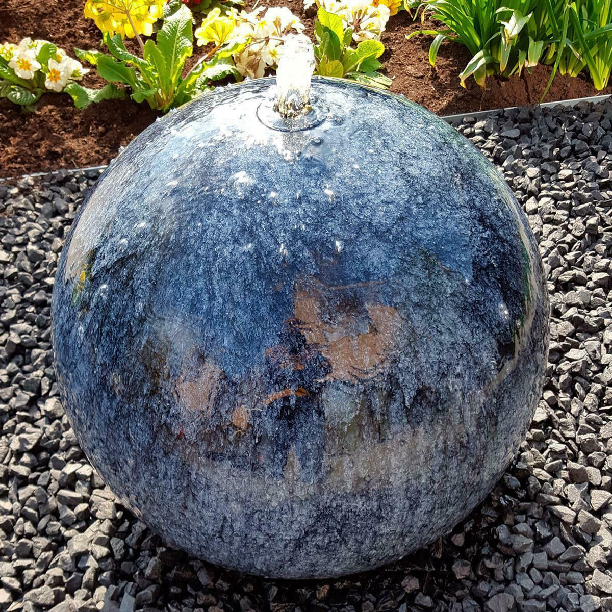 LED Komplettset Gartenbrunnen Wasserspiel Edelstahl matt geb/ürstet Kugelbrunnen 60 cm incl
