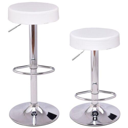 Pleasant 2Pcs Bar Swivel Round Leather Seat Chrome Leg Height Machost Co Dining Chair Design Ideas Machostcouk