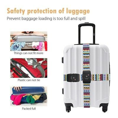 "Heavy Duty TSA Password Travel Luggage Suitcase Secure Coded Lock 80"" Belt Strap 8"