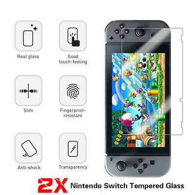 2x for Nintendo Switch Genuine 100% TEMPERED GLASS Screen Protector Cover Film 2