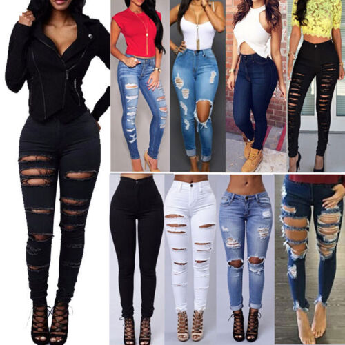 Women Stretch Ripped Distressed Skinny High Waisted Denim Pants Jeans Trousers