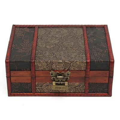 Large Decorative Trinket Jewelry Lock Chest Handmade Wooden Storage Box 5