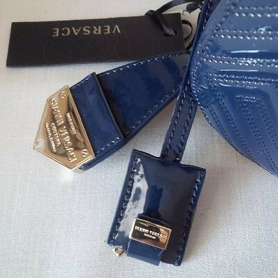 0d5c78b084a7 ... New Gianni Versace Couture Leather Greca Quilt Doctor Handbag Blue Made  In Italy 5