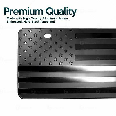 Zone Tech Monochrome USA Flag License Plate Cover Embossed Novelty America Steel 2