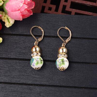 2 Beads Colored Enamel Gemstone Earrings Bohemian Handmade Fashion Earrings Gift 4