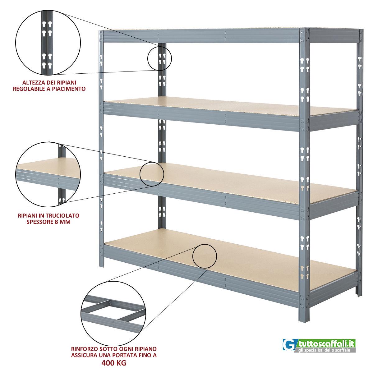Scaffale metallo kit 240 cm per garage e magazzino 400 for Garage in metallo con planimetrie abitative