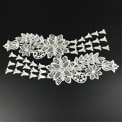 1 Pair Embroidery DIY Lace Applique Sewing Wedding Dress Trim Craft Patch Decor 12