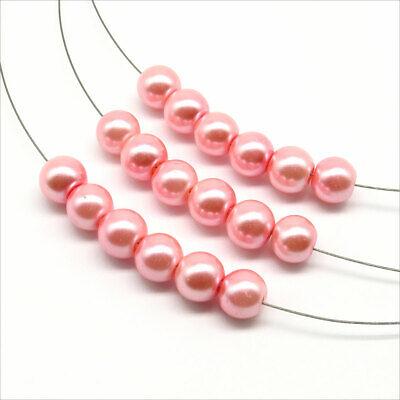 Lot de 30 Perles Rondes Nacrées en Verre 8mm Rose Clair 2