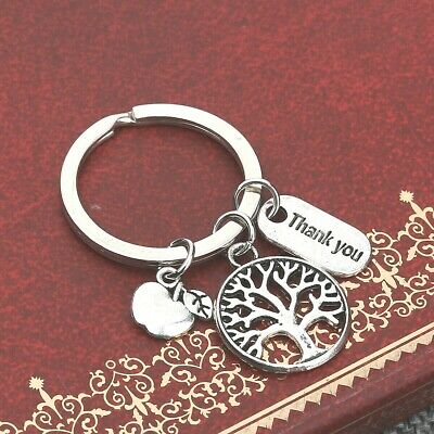 TEACHER THANK YOU KEY RING WITH ATTACHED CHARMS~School~Key Fob~Key Chain (50B)UK 3