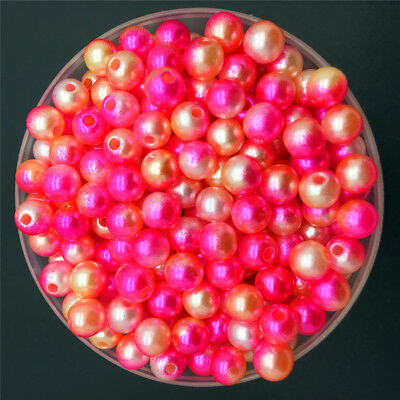 4/6/8mm Colorful Acrylic Round Pearl Spacer Loose Beads DIY Jewelry Making-WI 3