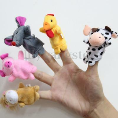 10/12X Family Finger Puppets Cloth Doll Baby Educational Hand Cartoon Animal Toy 9