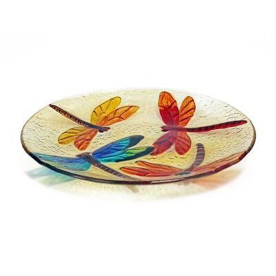 "9"" Handmade Decorative Art Glass, Round Serving Dish Plate, Amber, Dragonfly 3"