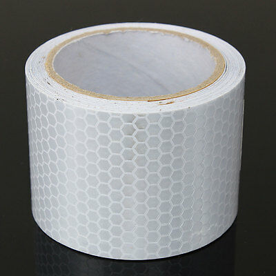 Silver White Car Reflective Safety Warning Conspicuity Roll Tape Film Sticker 4
