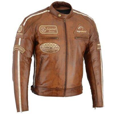 Motorrad Lederjacke 3//4 lang Motorrad Biker Motorradjacke Retro Chopper 80´s