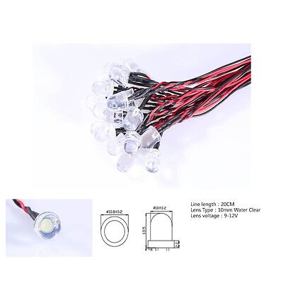 12V Pre-Wired LEDs 3mm/5mm/10mm Red/Blue/Green/White/Yellow 9V 12 Volts W/Caps