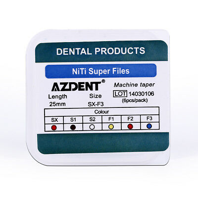AZDENT 10 Packs Dental Endo NiTi Rotary Super Files Engine Use 25mm 6pcs/Pack 5