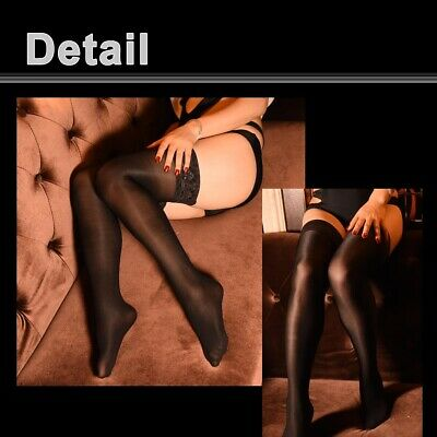 Women's Shiny Glossy Stretchy Thigh High Stockings Lace Silicone Stay Up Hosiery 2