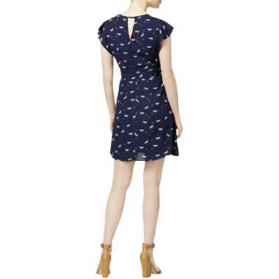 Maison Jules New Women Gingham-Print Eyelet Dress Blu Notte Combo M $99