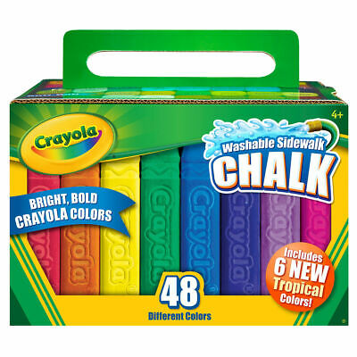 Crayola Sidewalk Washable Anti-Roll Coloured Chalks -48 Pieces in bright Colours 2