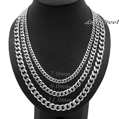 "New 7/9/11mm 18-40"" MENS Boys Solid Stainless Steel Silver Curb Chain Necklace 2"