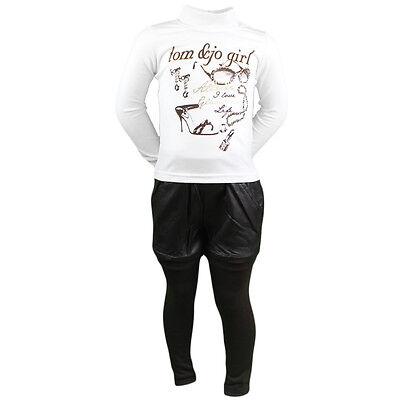 Ensemble Enfant Vetements Hiver Fille Pantalon + T Shirt + Veste Sky Marron 2