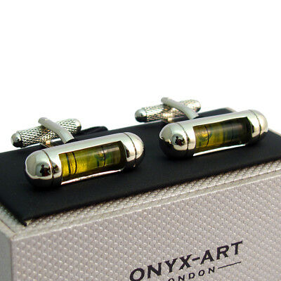 Green Spirit Level cufflinks Supplied in a Gift box Onyx-Art CK834