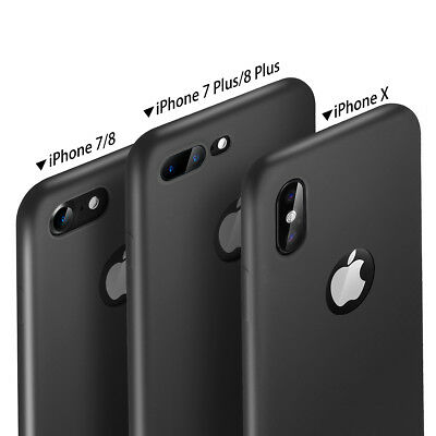 Black Ultra thin Full Body Shockproof Soft Case Cover iPhone X 6 8 7 Plus XS Max 8