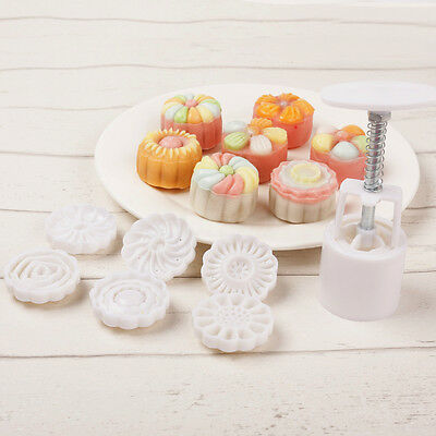 6 Style Stamps Round Flower Moon Cake Mold Mould White Set Mooncake Decor 50g 10