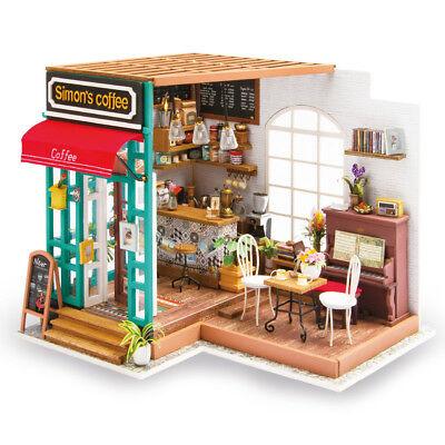 Robotime DIY Dollhouse Kit Miniature Modern Cafe with Furniture LED Gift Girls 4