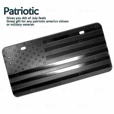 Zone Tech Monochrome USA Flag License Plate Cover Embossed Novelty America Steel 3