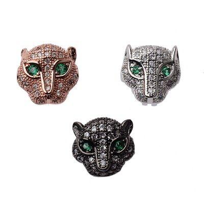 Zircon Gemstones Pave Crown Helmet Leopard Bracelet Connector Charm Loose Beads 4
