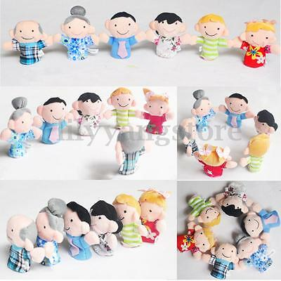 10/12X Family Finger Puppets Cloth Doll Baby Educational Hand Cartoon Animal Toy 5