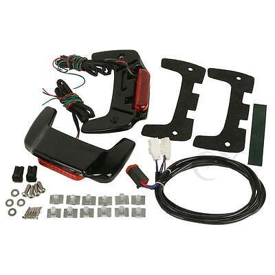 Vivid Black Hard saddlebag Lid LED Spoiler Kit Fit Harley Touring Saddle bags