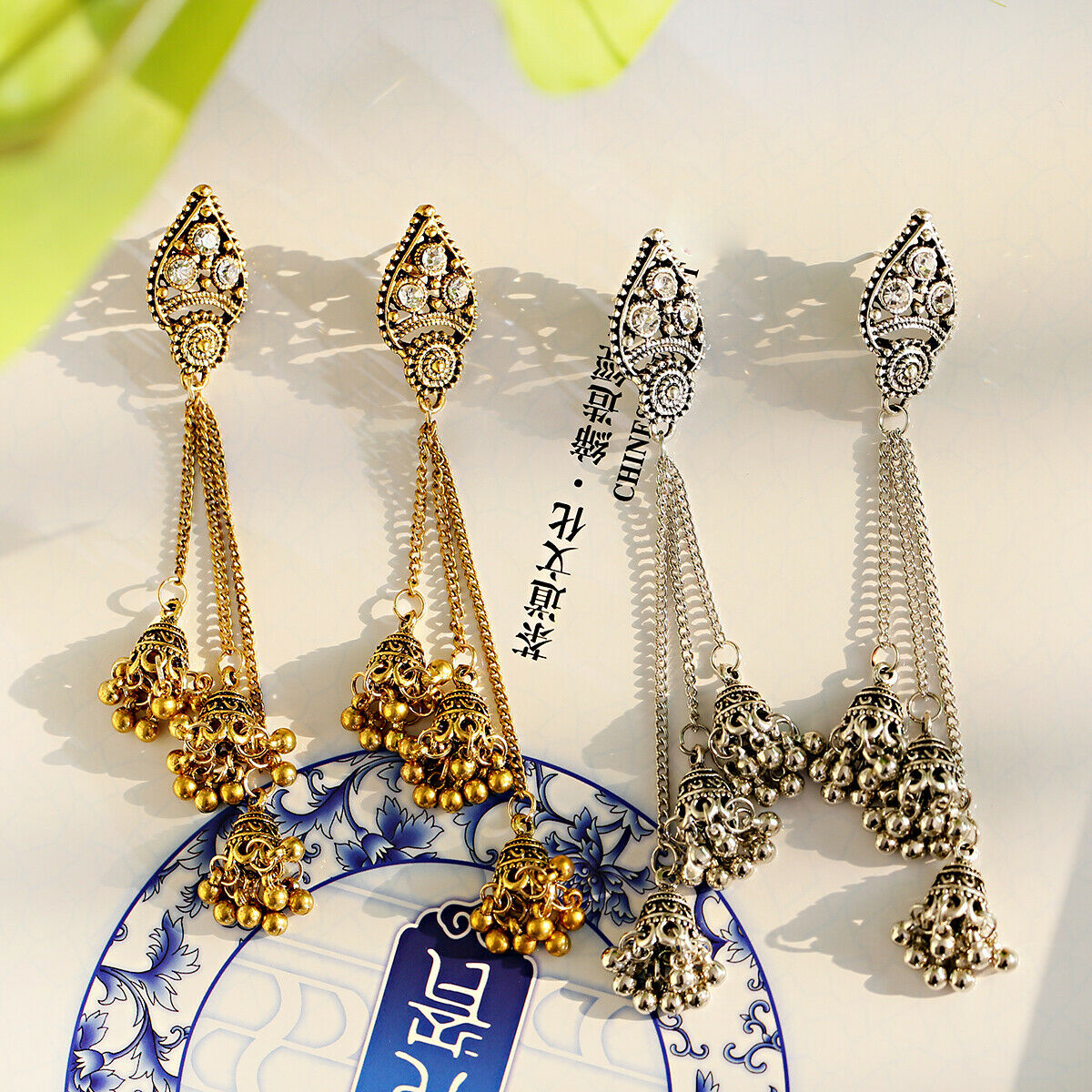 Women Jewelry Bohemia Indian Charm Gold&Silver Pendant Fashion Retro Earrings 6
